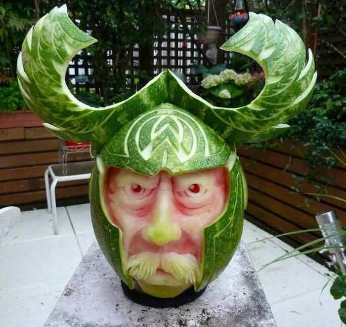 watermelon carving, viking