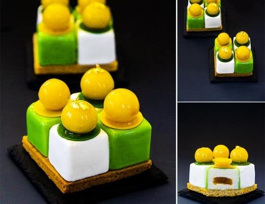 "Individual cake ""April"": sablé breton, soft mango-citrus caramel; light coconut mousse; orange jelly for decoration. Nina Tarasova"