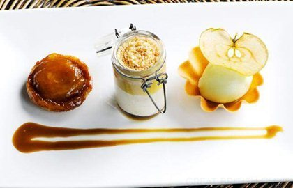 ASSIETTE OF APPLES WITH APPLE SORBET, PANNA COTTA AND BUTTERSCOTCH SAUCE - MATTHEW TOMKINSON