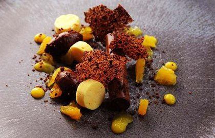 DARK CHOCOLATE AND ORANGE GANACHE, ORANGE PARFAIT AND COCOA NIB TUILLE - ADAM SIMMONDS