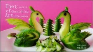 Art In Cucumber Swans - Fruit Vegetable Carving Garnish | Cucumber Sushi Garnish, ItalyPaul.