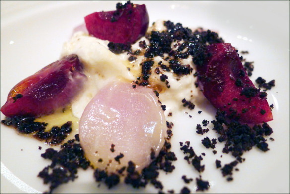 "Burrata ""stretched"" Mozarella , Malted crumbs , cherries and onions."