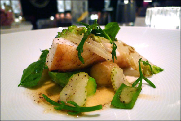 Cornish Turbot , New potatoes , Green Strawberries , courgette and Coastal herbs.