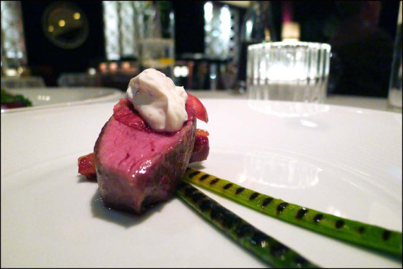 Cumbrian Lamb with Japanese Rose petals , Yoghurt and charred Leeks.