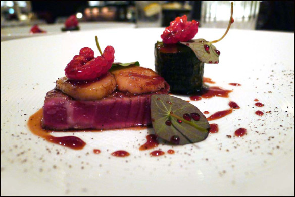Beef , Smoked Bone marrow , Hogweed seeds , Grilled courgette , cucumber , Raspberries and Nasturtiums.
