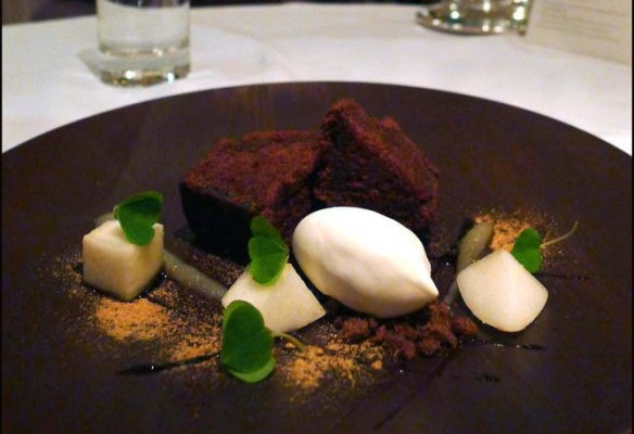 Liquorice cake , Smoked milk ice cream , fresh pear and wood Sorrel.