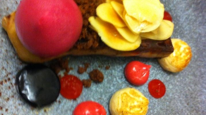 Roast foie gras, beetroot meringue,blood orange, and brown sugar @LAutrePied by @Andy_McFadden