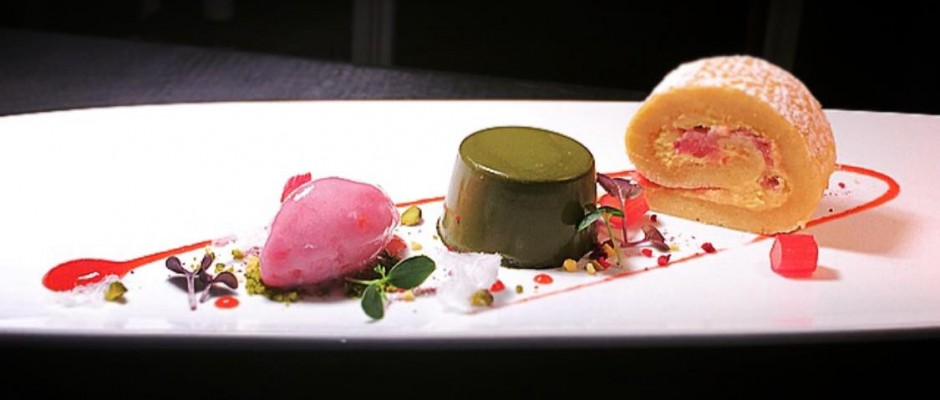 Rhubarb and custard roulade - basil panna cotta - candy floss.